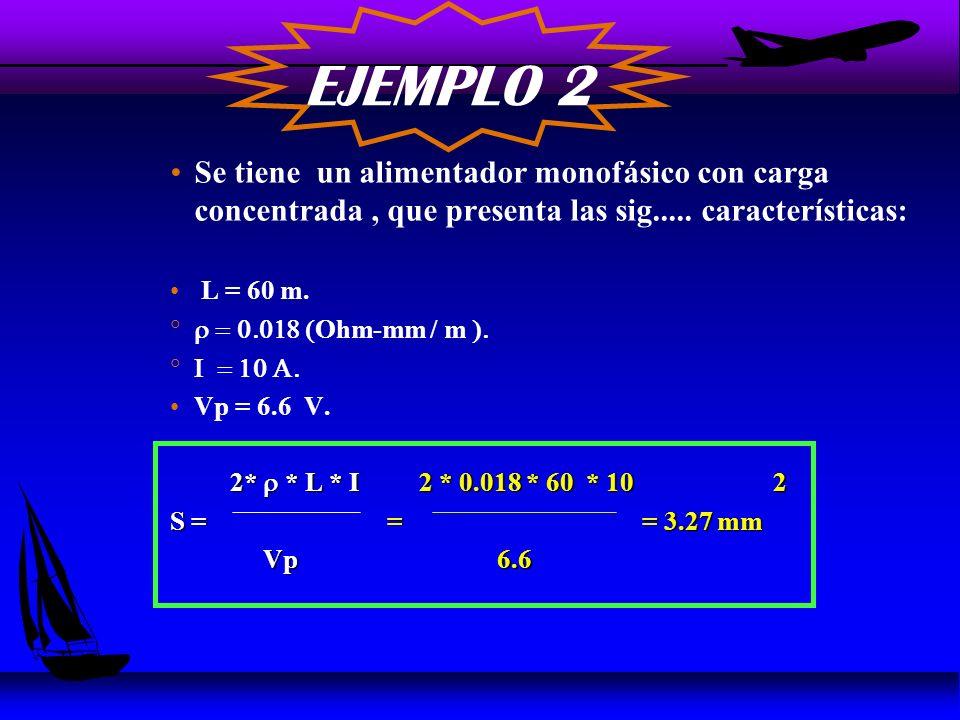 Sección del Conductor u La Expresión para determinar la sección del Conductor es: k * * l 2 k * * l 2 u A = * I ( mm ) Vp Vp k = 2 (Alimentadores Monofásicos) k = 2 (Alimentadores Monofásicos) u k = 1 (Alimentadores Trifásicos)