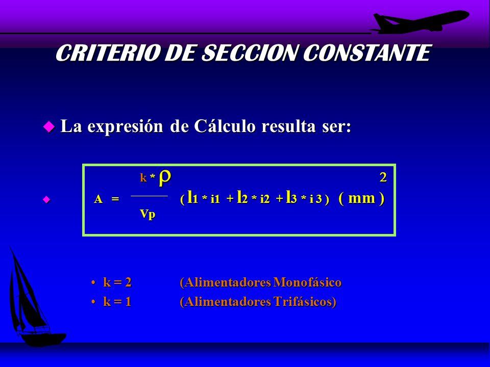 CRITERIO DE SECCION CONSTANTE u La Sección del Alimentador, es Constante en toda su extensión u i1; i1; i3 Corrientes de rama de los consumos asociados al Alimentador (A) u i1; i1; i3 : Corrientes de rama de los consumos asociados al Alimentador (A) l 1 ; l 2 ; l 3 : Longitud de cada uno de los tramos del u · l 1 ; l 2 ; l 3 : Longitud de cada uno de los tramos del Alimentador (m) Alimentador (m) i 1i 1i 1i 1 i 2i 2i 2i 2 i 3i 3i 3i 3 l1l1l1l1 l3l3l3l3 l2l2l2l2