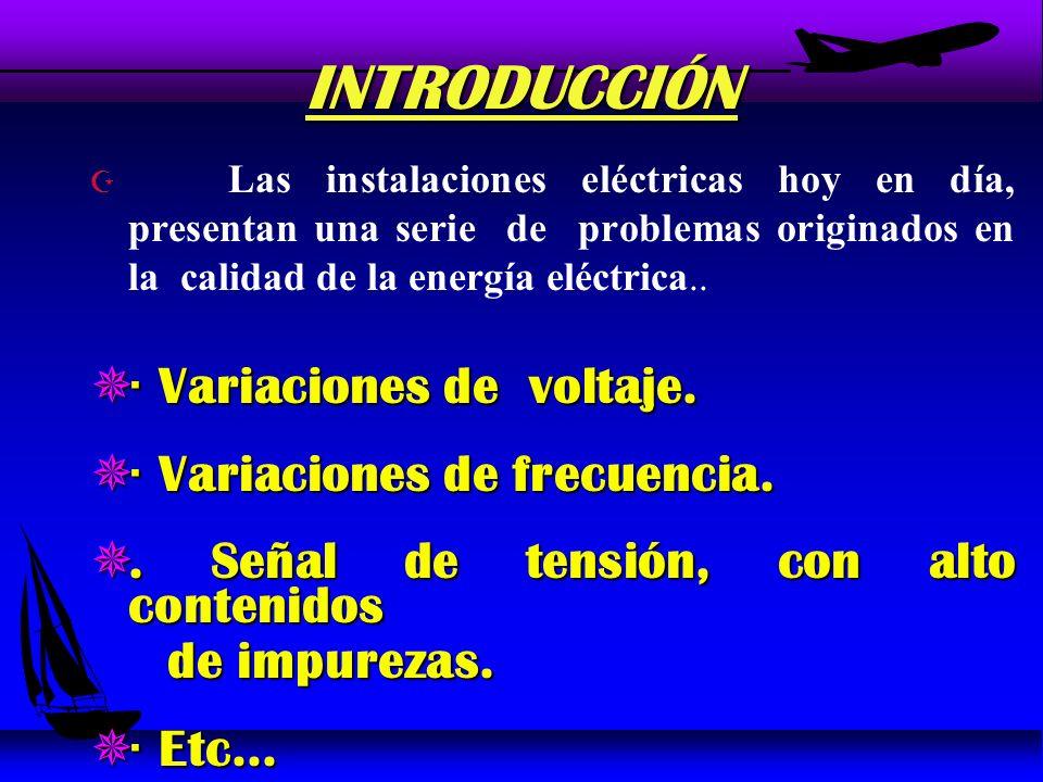 INTRODUCCIÓN Z Las instalaciones eléctricas hoy en día, presentan una serie de problemas originados en la calidad de la energía eléctrica..