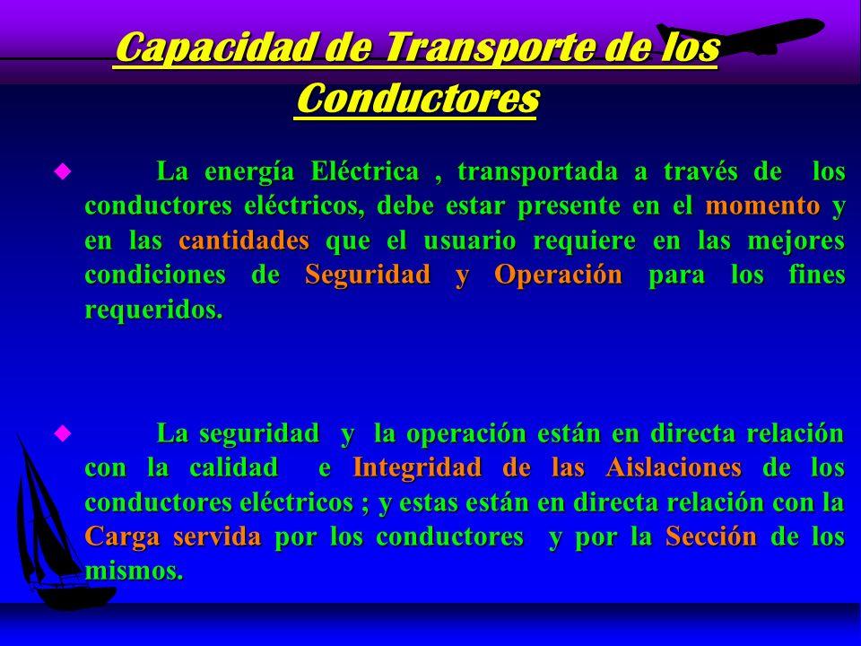 DIMENSIONAMIENTO POR VOLTAJE DE PERDIDA Al circular una corriente eléctrica a través de los conductores ; se produce una caída de tensión que responde a la siguiente expresión : u Al circular una corriente eléctrica a través de los conductores ; se produce una caída de tensión que responde a la siguiente expresión : u Vp = I * Rc Vp : Voltaje de Pérdida (V) u · Vp : Voltaje de Pérdida (V) u · I : Corriente de Carga (A) u · Rc : Resistencia de los Conductores (Ohm)