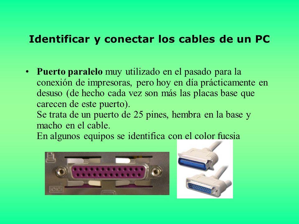 Identificar y conectar los cables de un PC Puerto paralelo muy utilizado en el pasado para la conexión de impresoras, pero hoy en día prácticamente en desuso (de hecho cada vez son más las placas base que carecen de este puerto).