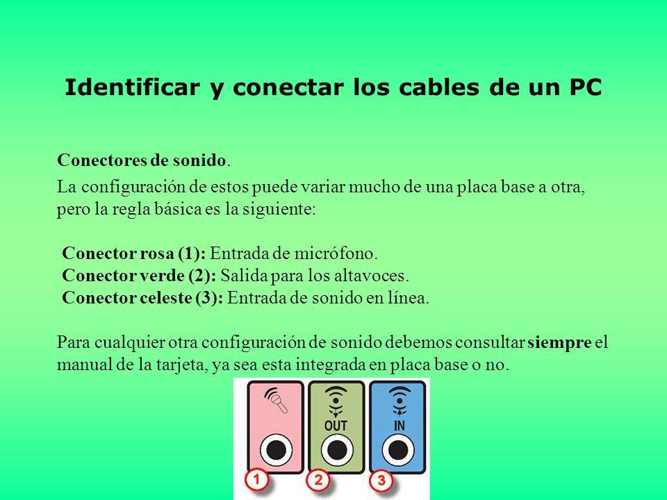 Identificar y conectar los cables de un PC Conectores de sonido.