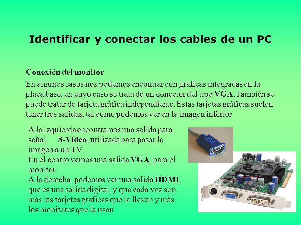 Identificar y conectar los cables de un PC Conexión del monitor En algunos casos nos podemos encontrar con gráficas integradas en la placa base, en cuyo caso se trata de un conector del tipo VGA.También se puede tratar de tarjeta gráfica independiente.