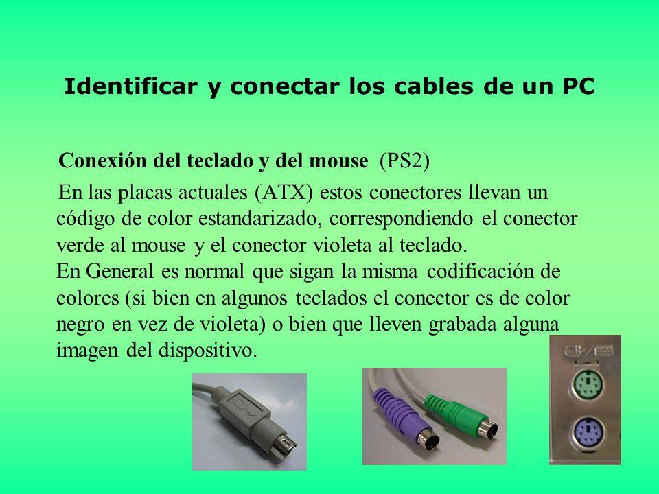 Identificar y conectar los cables de un PC Conexión del teclado y del mouse (PS2) En las placas actuales (ATX) estos conectores llevan un código de color estandarizado, correspondiendo el conector verde al mouse y el conector violeta al teclado.