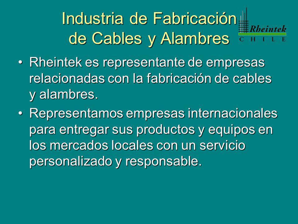 Industria de Fabricación de Cables y Alambres Rheintek es representante de empresas relacionadas con la fabricación de cables y alambres.Rheintek es representante de empresas relacionadas con la fabricación de cables y alambres.