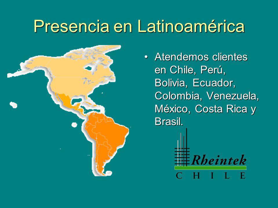 Presencia en Latinoamérica Atendemos clientes en Chile, Perú, Bolivia, Ecuador, Colombia, Venezuela, México, Costa Rica y Brasil.Atendemos clientes en Chile, Perú, Bolivia, Ecuador, Colombia, Venezuela, México, Costa Rica y Brasil.