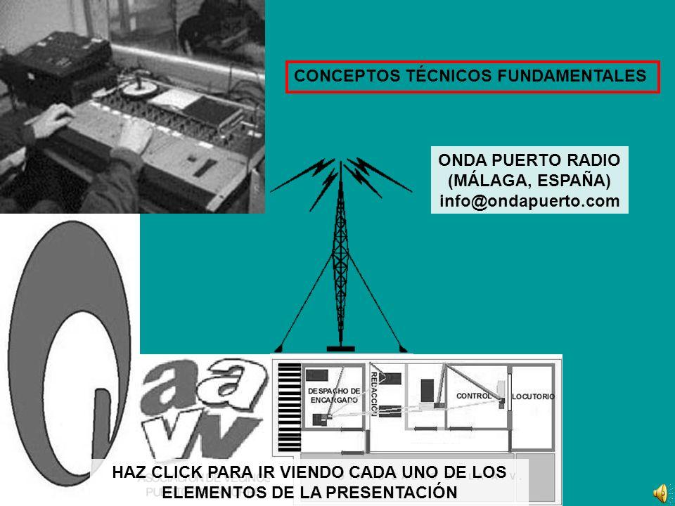 ANTENA (mástil-torreta y antena en la punta) TRANSMISOR (genera las ondas electromagnéticas de la radiodifusión en FM) RADIO ENLACES (se ubican en otro punto alejado de la emisora pero situado mejor para que la cobertura sea mayor/mejor.