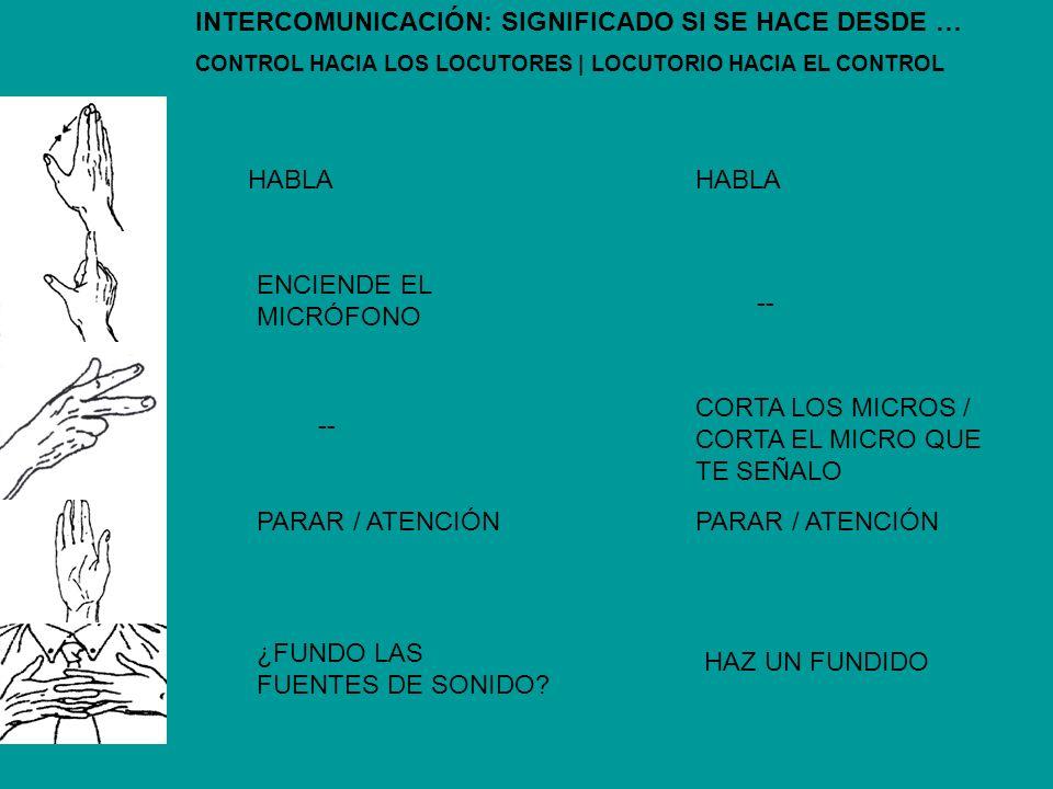 INTERCOMUNICACIÓN: SIGNIFICADO SI SE HACE DESDE … CONTROL HACIA LOS LOCUTORES | LOCUTORIO HACIA EL CONTROL HABLA -- ENCIENDE EL MICRÓFONO PARAR / ATEN