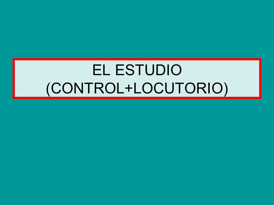 LOCUTORIO = LUGAR DESDE EL QUE HABLAN LOS LOCUTORES CONTROL = LUGAR DONDE ESTÁN EL TÉCNICO, LAS FUENTES DE SONIDO Y LA MESA DE MEZCLAS ESTUDIO = CONTROL + LOCUTORIO EMISORA = CONJUNTO DE ESTUDIOS EN UN MISMO EDIFICIO CADENA DE EMISORAS = CONJUNTO DE EMISORAS CON PROGRAMACIÓN SIMULTÁNEA Y ALGUNAS DESCONEXIONES LOCALES Plano de emisora con varios estudios