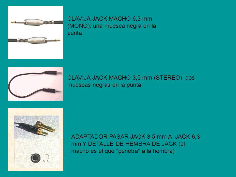 ADAPTADOR 2 CLAVIJAS JACK 3,5 mm A 1 JACK 3,5 mm CLAVIJAS Y CABLES RCA (cada color corresponde a un canal de sonido, izquierdo y derecho) CLAVIJAS Y CABLES CANON O XLR (HEMBRA Y MACHO).
