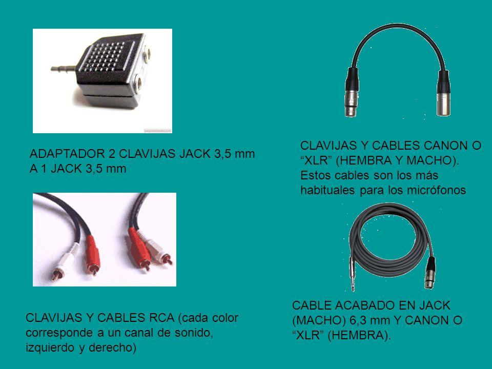 ADAPTADOR 2 CLAVIJAS JACK 3,5 mm A 1 JACK 3,5 mm CLAVIJAS Y CABLES RCA (cada color corresponde a un canal de sonido, izquierdo y derecho) CLAVIJAS Y C