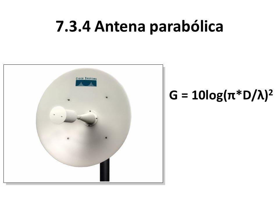 7.3.4 Antena parabólica G = 10log(π*D/λ) 2