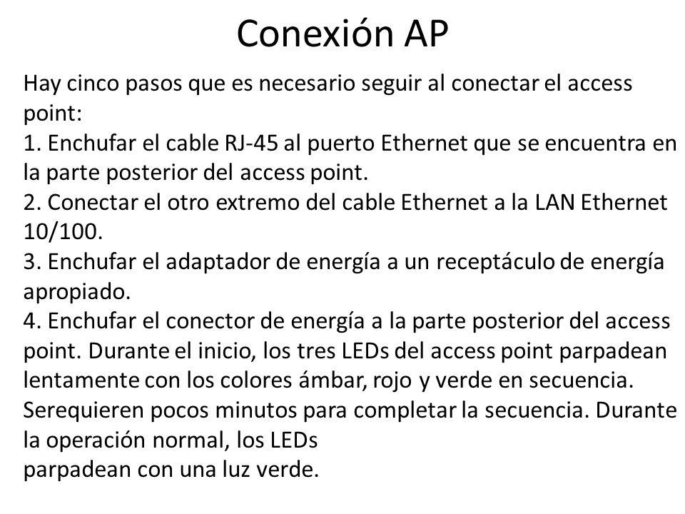 Conexión AP Hay cinco pasos que es necesario seguir al conectar el access point: 1. Enchufar el cable RJ-45 al puerto Ethernet que se encuentra en la