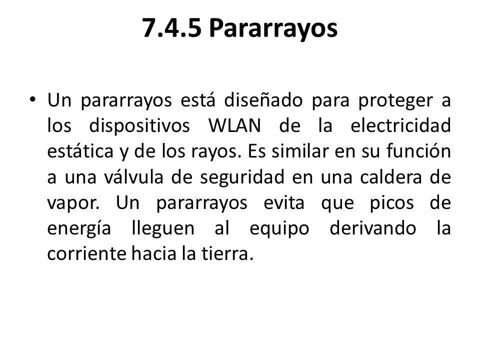 7.4.5 Pararrayos Un pararrayos está diseñado para proteger a los dispositivos WLAN de la electricidad estática y de los rayos. Es similar en su funció
