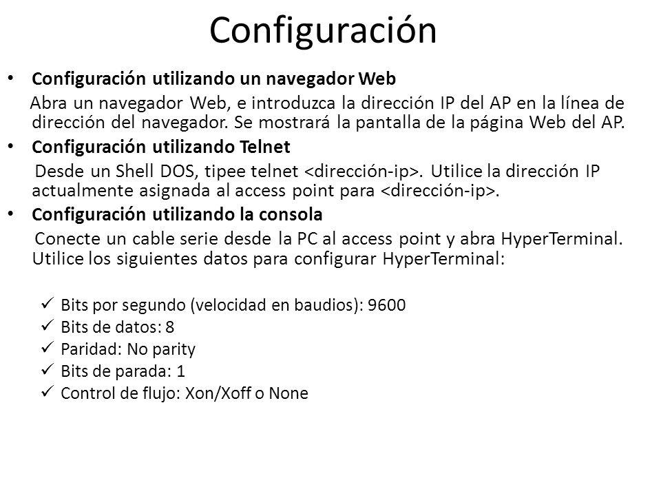 Configuración Configuración utilizando un navegador Web Abra un navegador Web, e introduzca la dirección IP del AP en la línea de dirección del navega