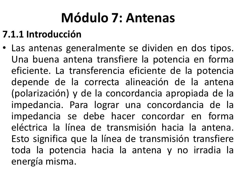 Módulo 7: Antenas 7.1.1 Introducción Las antenas generalmente se dividen en dos tipos. Una buena antena transfiere la potencia en forma eficiente. La