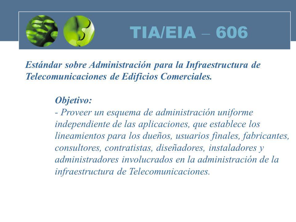 TIA/EIA – 606 Estándar sobre Administración para la Infraestructura de Telecomunicaciones de Edificios Comerciales.