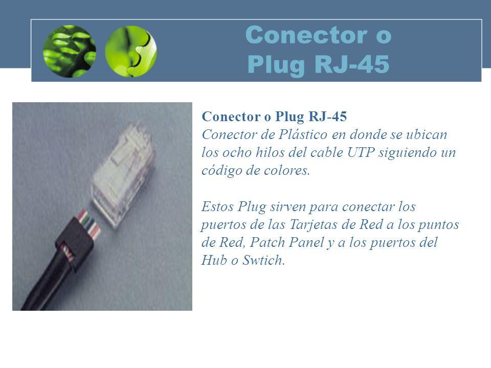 Conector o Plug RJ-45 Conector de Plástico en donde se ubican los ocho hilos del cable UTP siguiendo un código de colores.