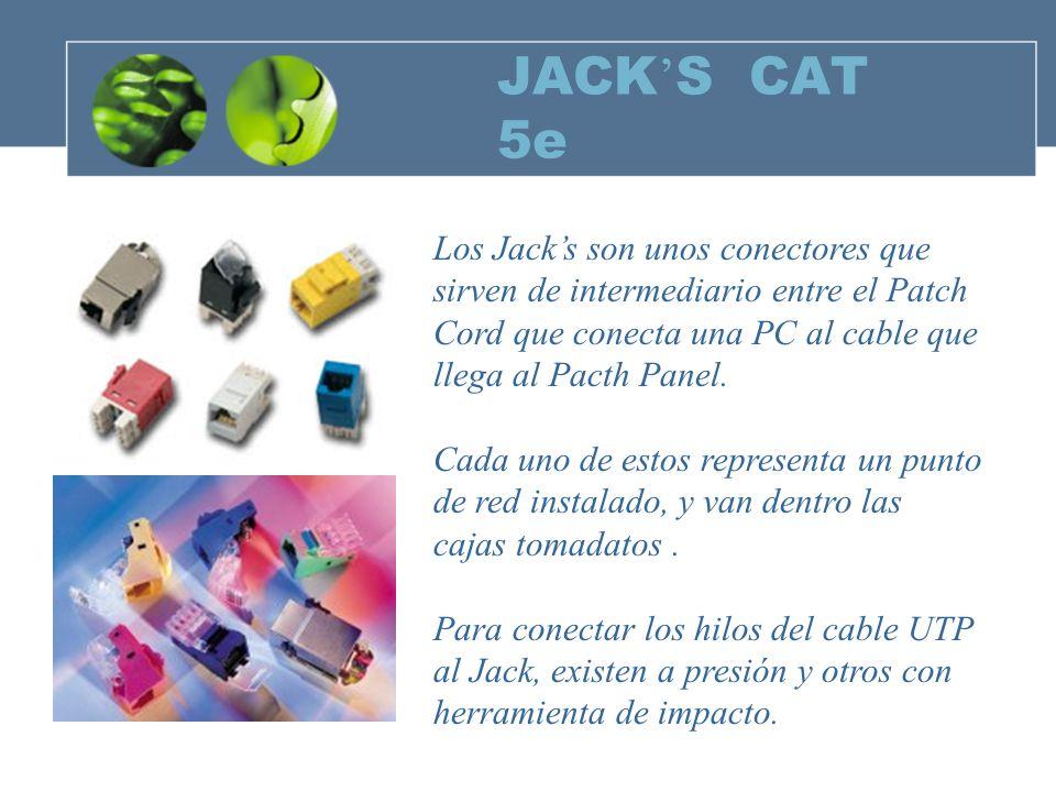 JACK S CAT 5e Los Jacks son unos conectores que sirven de intermediario entre el Patch Cord que conecta una PC al cable que llega al Pacth Panel.