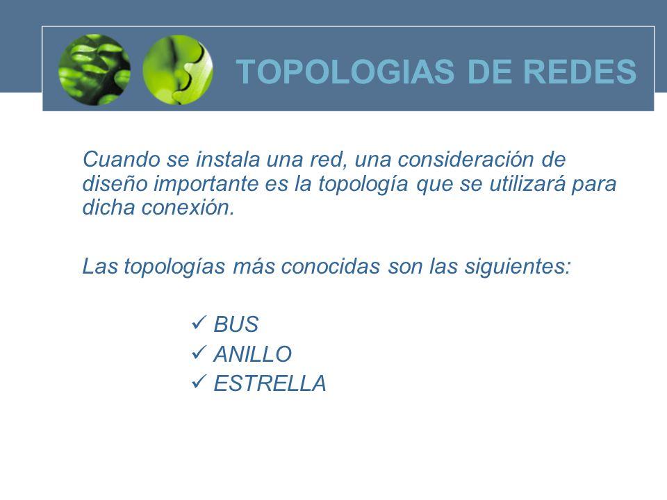 TOPOLOGIAS DE REDES TOPOLOGIA BUS Es un diseño simple que utiliza un solo cable al cual todas las estaciones se conectan.