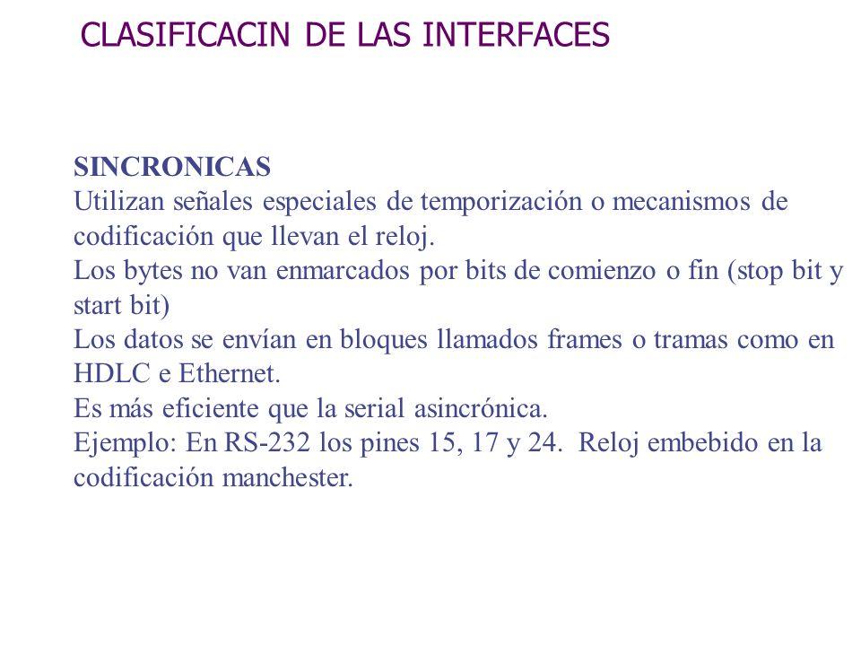 CLASIFICACIN DE LAS INTERFACES SINCRONICAS Utilizan señales especiales de temporización o mecanismos de codificación que llevan el reloj. Los bytes no