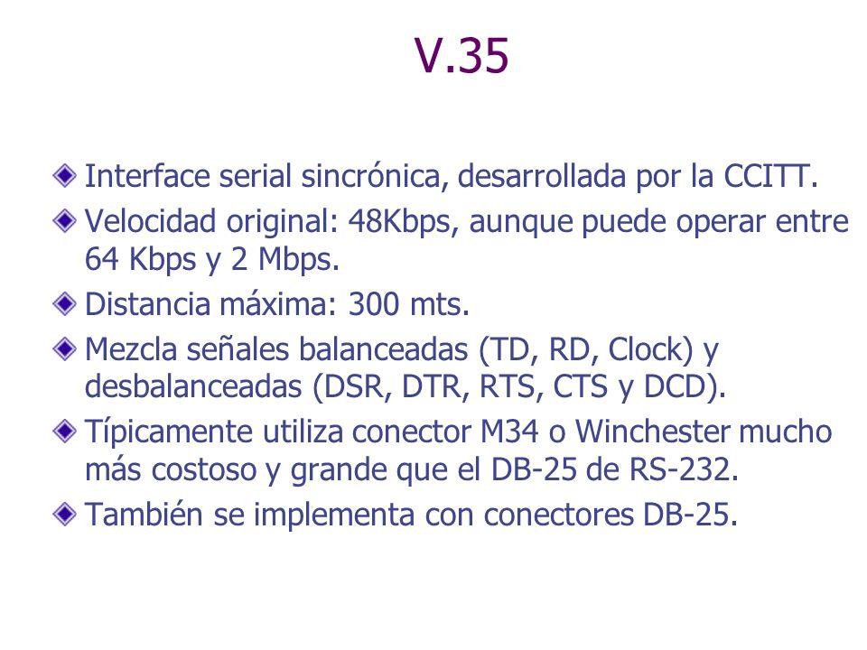 V.35 Interface serial sincrónica, desarrollada por la CCITT. Velocidad original: 48Kbps, aunque puede operar entre 64 Kbps y 2 Mbps. Distancia máxima: