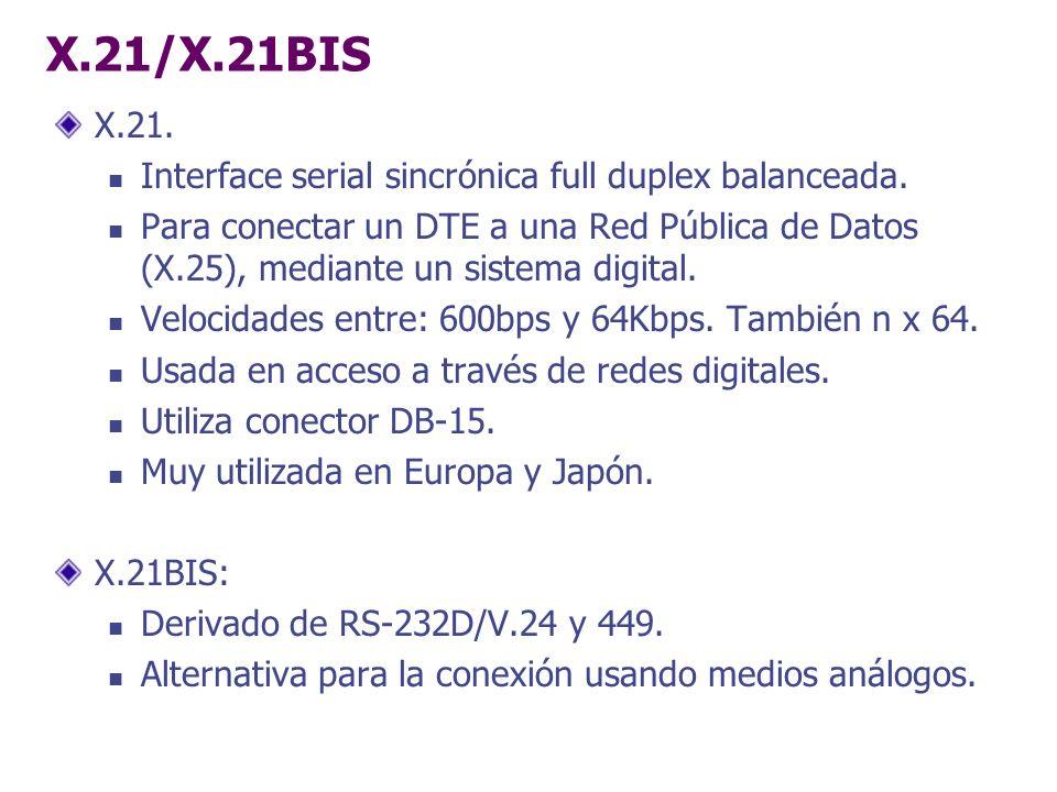 X.21/X.21BIS X.21. Interface serial sincrónica full duplex balanceada. Para conectar un DTE a una Red Pública de Datos (X.25), mediante un sistema dig