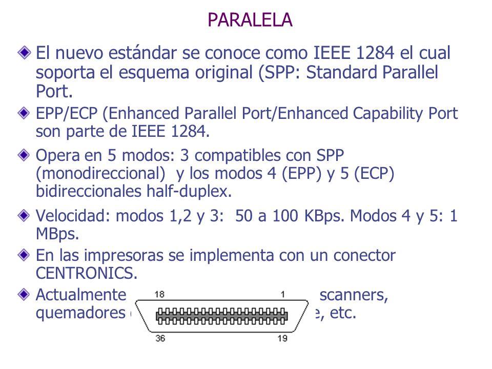 PARALELA El nuevo estándar se conoce como IEEE 1284 el cual soporta el esquema original (SPP: Standard Parallel Port. EPP/ECP (Enhanced Parallel Port/