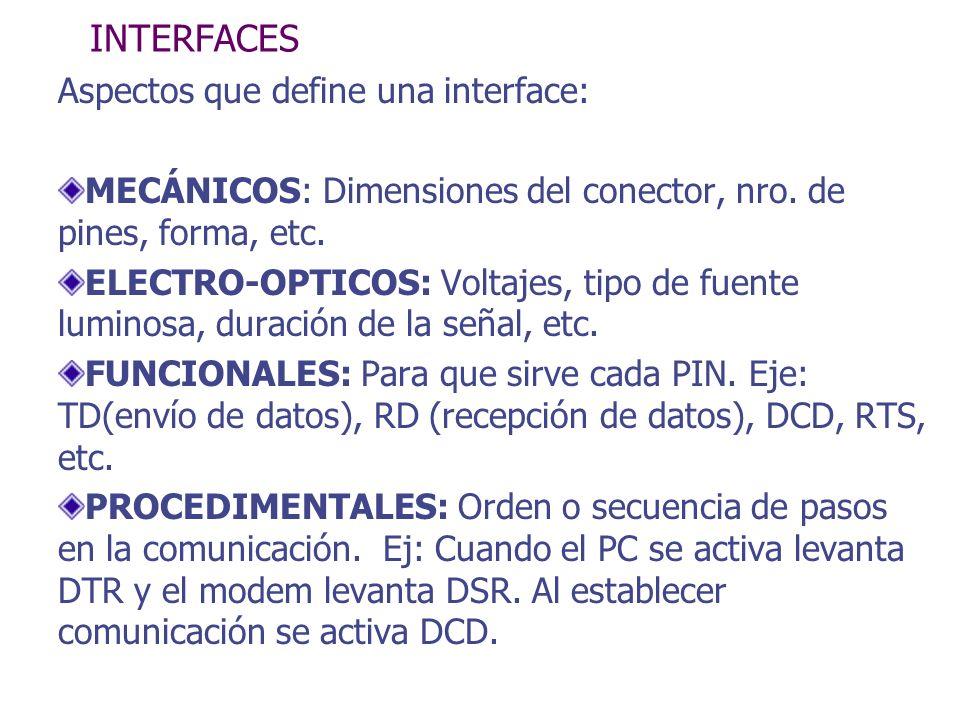 INTERFACES Aspectos que define una interface: MECÁNICOS: Dimensiones del conector, nro. de pines, forma, etc. ELECTRO-OPTICOS: Voltajes, tipo de fuent
