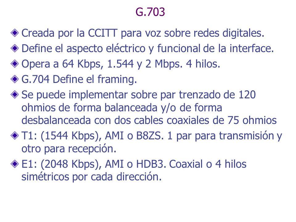 G.703 Creada por la CCITT para voz sobre redes digitales. Define el aspecto eléctrico y funcional de la interface. Opera a 64 Kbps, 1.544 y 2 Mbps. 4
