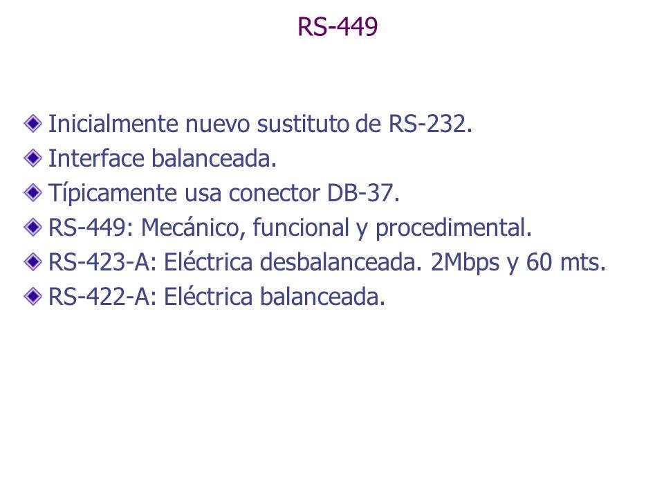 RS-449 Inicialmente nuevo sustituto de RS-232. Interface balanceada. Típicamente usa conector DB-37. RS-449: Mecánico, funcional y procedimental. RS-4