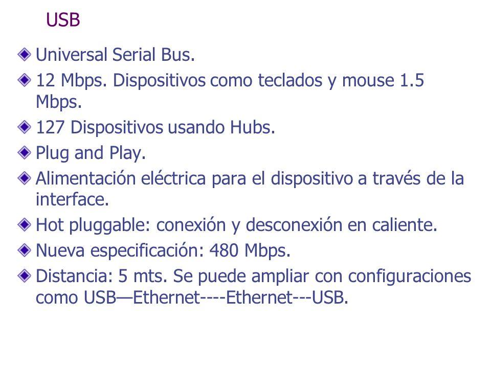 USB Universal Serial Bus. 12 Mbps. Dispositivos como teclados y mouse 1.5 Mbps. 127 Dispositivos usando Hubs. Plug and Play. Alimentación eléctrica pa