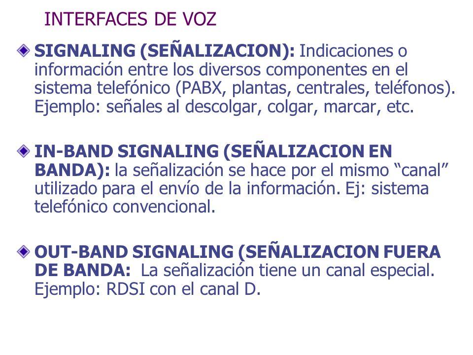 INTERFACES DE VOZ SIGNALING (SEÑALIZACION): Indicaciones o información entre los diversos componentes en el sistema telefónico (PABX, plantas, central