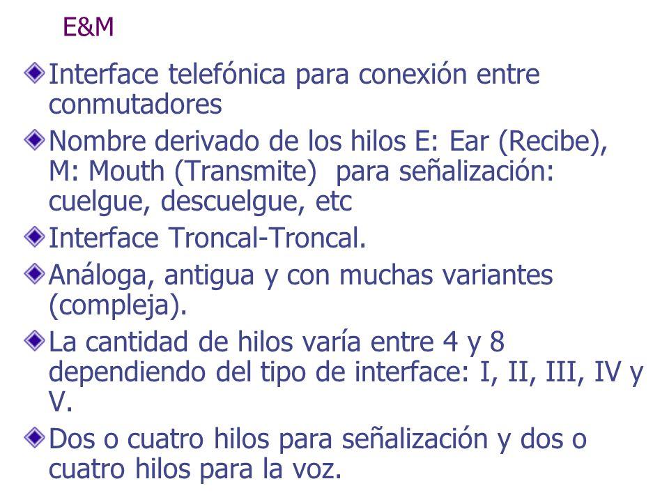 E&M Interface telefónica para conexión entre conmutadores Nombre derivado de los hilos E: Ear (Recibe), M: Mouth (Transmite) para señalización: cuelgu