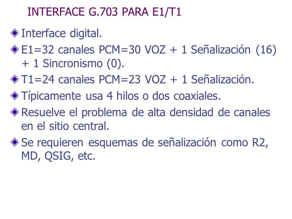 INTERFACE G.703 PARA E1/T1 Interface digital. E1=32 canales PCM=30 VOZ + 1 Señalización (16) + 1 Sincronismo (0). T1=24 canales PCM=23 VOZ + 1 Señaliz