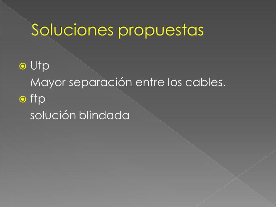 Utp Mayor separación entre los cables. ftp solución blindada