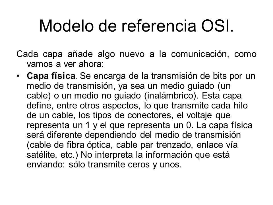 Modelo de referencia OSI. Cada capa añade algo nuevo a la comunicación, como vamos a ver ahora: Capa física. Se encarga de la transmisión de bits por