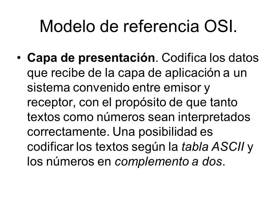 Modelo de referencia OSI. Capa de presentación. Codifica los datos que recibe de la capa de aplicación a un sistema convenido entre emisor y receptor,