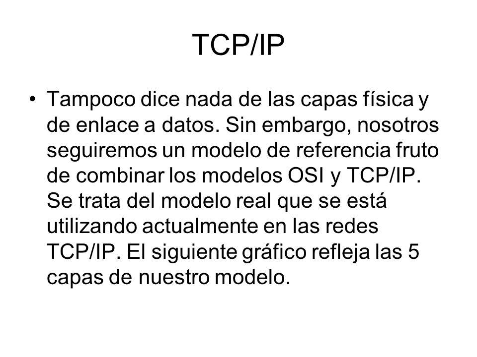 TCP/IP Tampoco dice nada de las capas física y de enlace a datos. Sin embargo, nosotros seguiremos un modelo de referencia fruto de combinar los model