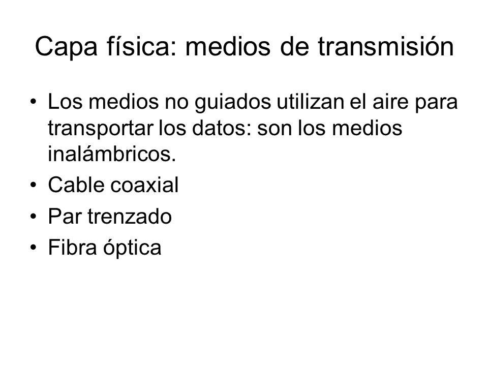Capa física: medios de transmisión Los medios no guiados utilizan el aire para transportar los datos: son los medios inalámbricos. Cable coaxial Par t