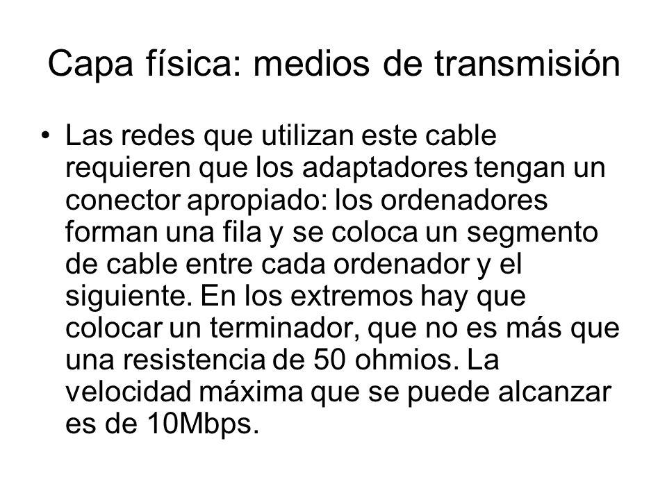 Capa física: medios de transmisión Las redes que utilizan este cable requieren que los adaptadores tengan un conector apropiado: los ordenadores forma
