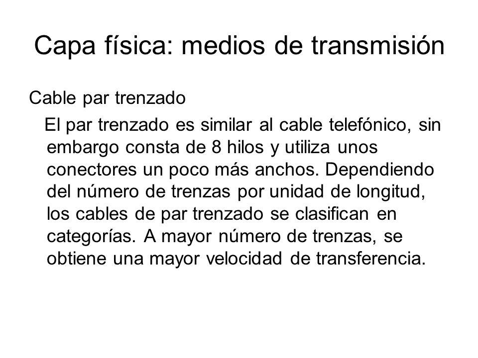 Capa física: medios de transmisión Cable par trenzado El par trenzado es similar al cable telefónico, sin embargo consta de 8 hilos y utiliza unos con
