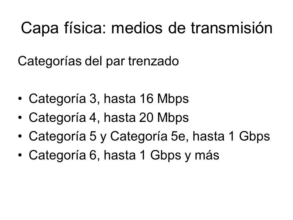 Capa física: medios de transmisión Categorías del par trenzado Categoría 3, hasta 16 Mbps Categoría 4, hasta 20 Mbps Categoría 5 y Categoría 5e, hasta