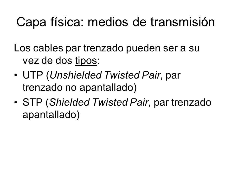 Capa física: medios de transmisión Los cables par trenzado pueden ser a su vez de dos tipos: UTP (Unshielded Twisted Pair, par trenzado no apantallado