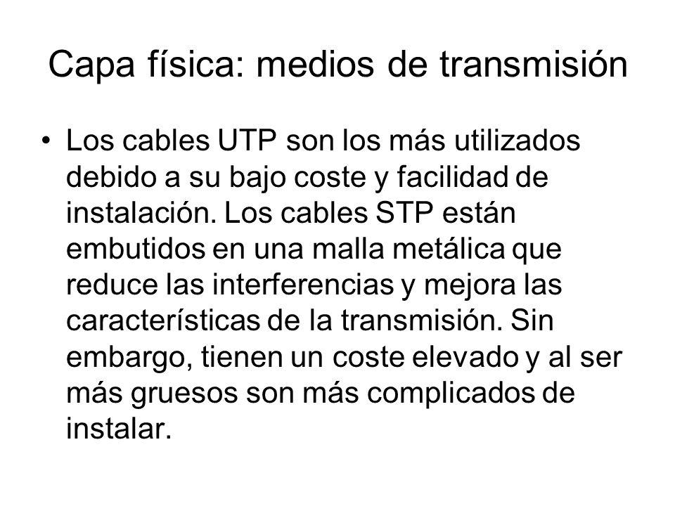 Capa física: medios de transmisión Los cables UTP son los más utilizados debido a su bajo coste y facilidad de instalación. Los cables STP están embut