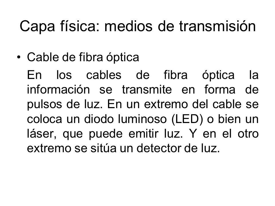 Capa física: medios de transmisión Cable de fibra óptica En los cables de fibra óptica la información se transmite en forma de pulsos de luz. En un ex