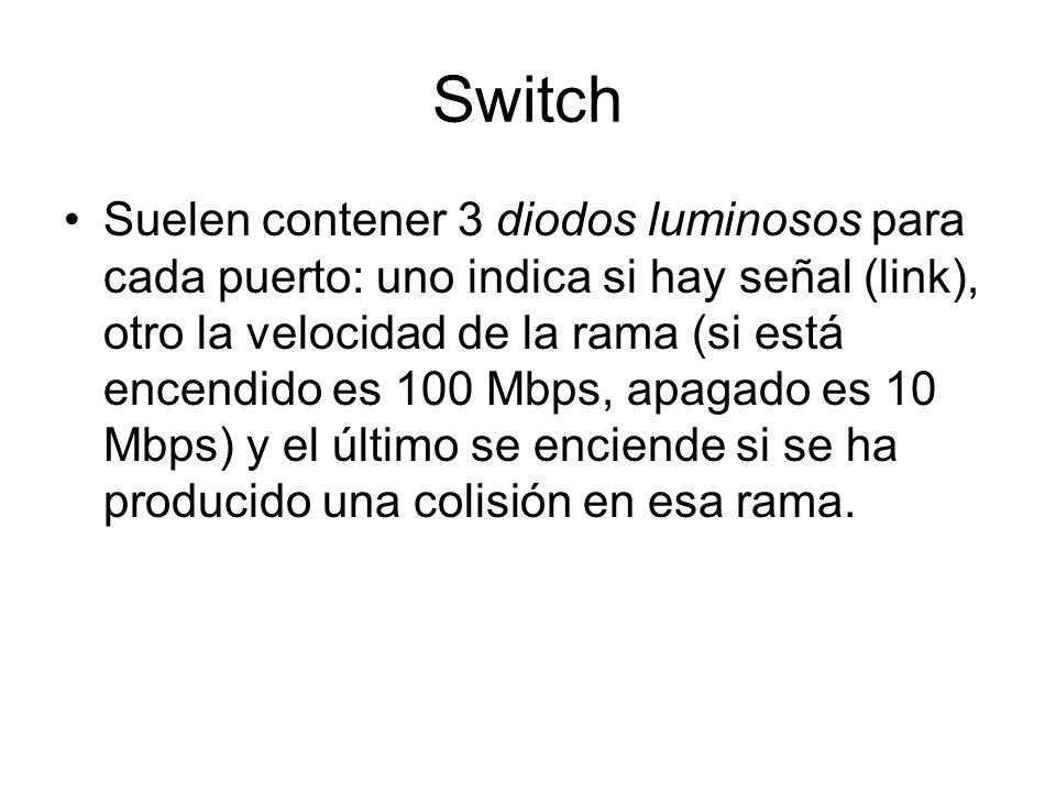 Switch Suelen contener 3 diodos luminosos para cada puerto: uno indica si hay señal (link), otro la velocidad de la rama (si está encendido es 100 Mbp