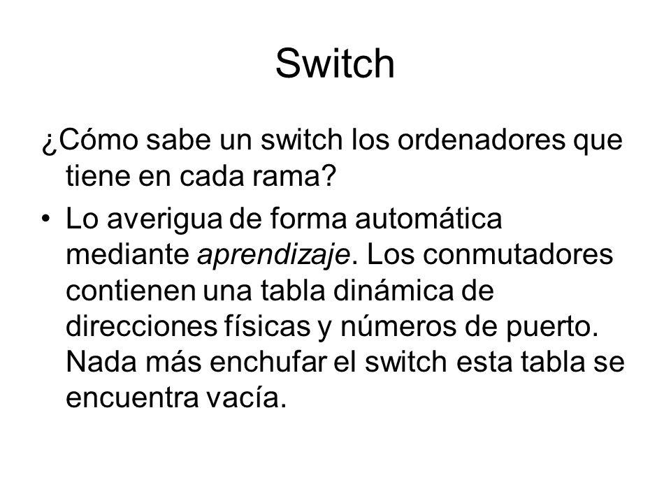 Switch ¿Cómo sabe un switch los ordenadores que tiene en cada rama? Lo averigua de forma automática mediante aprendizaje. Los conmutadores contienen u