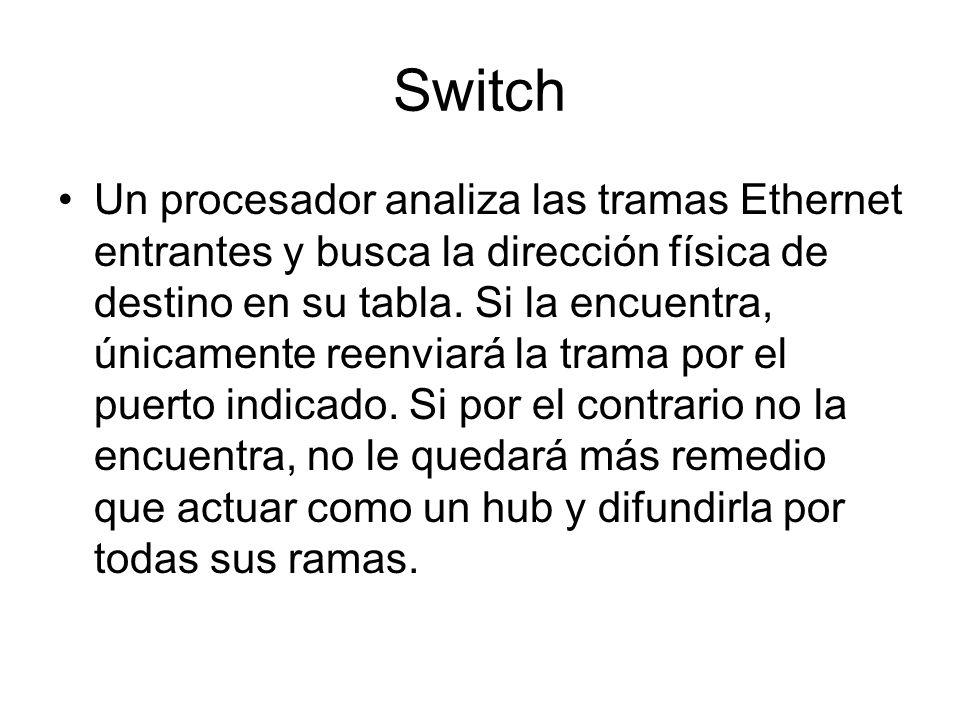 Switch Un procesador analiza las tramas Ethernet entrantes y busca la dirección física de destino en su tabla. Si la encuentra, únicamente reenviará l