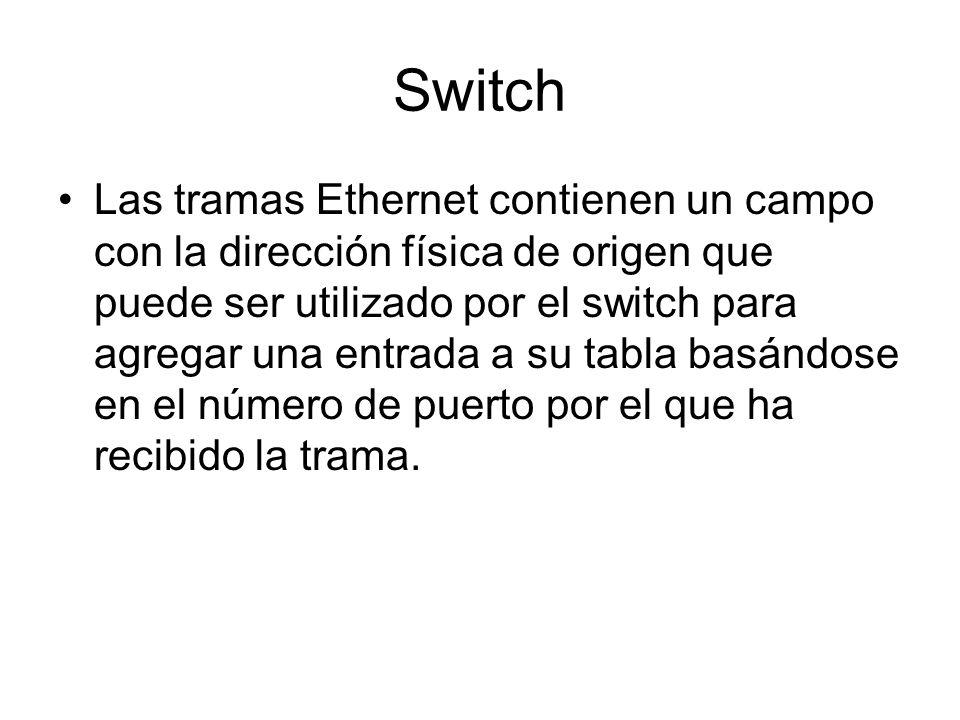 Switch Las tramas Ethernet contienen un campo con la dirección física de origen que puede ser utilizado por el switch para agregar una entrada a su ta